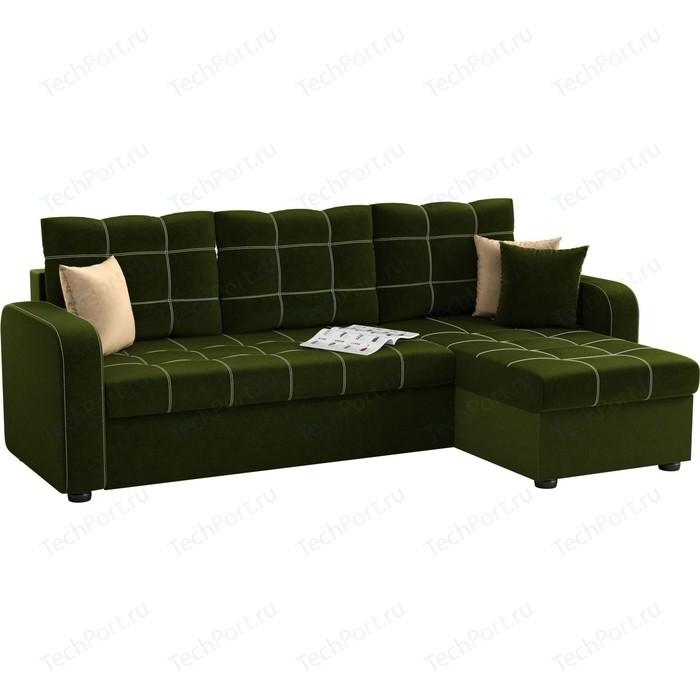 Угловой диван АртМебель Ливерпуль микровельвет зеленый правый угол