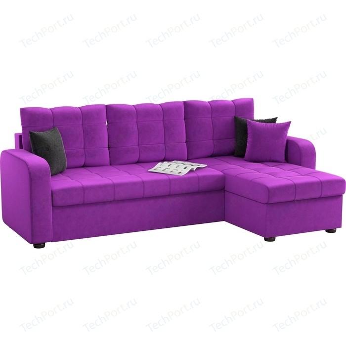 Угловой диван АртМебель Ливерпуль микровельвет фиолетовый правый угол
