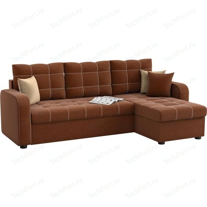 Угловой диван АртМебель Ливерпуль рогожка коричневый правый угол