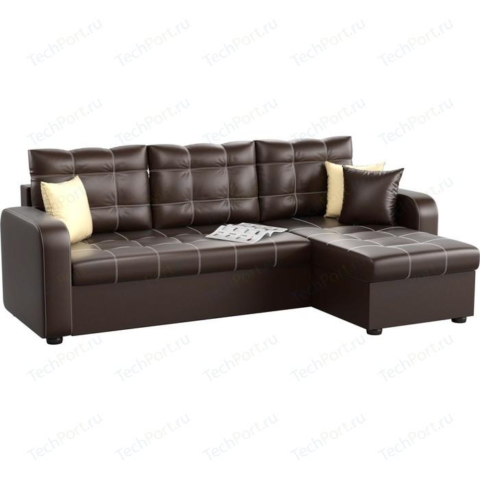 Угловой диван АртМебель Ливерпуль эко-кожа коричневый правый угол угловой диван артмебель ливерпуль эко кожа коричневый правый угол