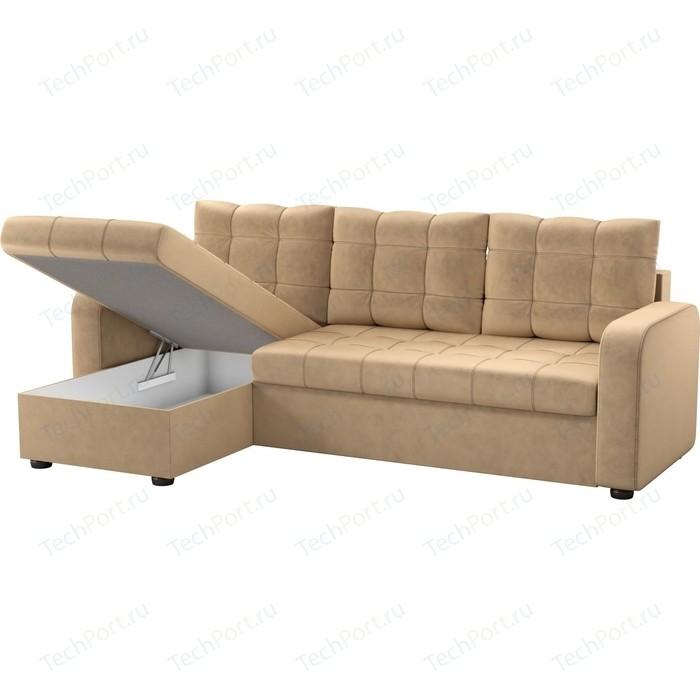 Угловой диван Мебелико Ливерпуль микровельвет бежевый левый угол диван угловой мебелико гранд микровельвет бежевый левый