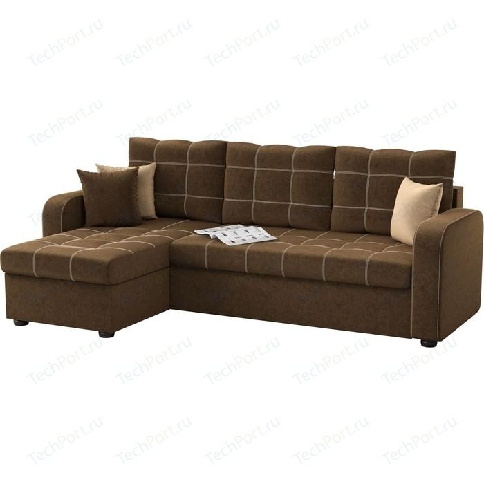 Угловой диван АртМебель Ливерпуль микровельвет коричневый левый угол