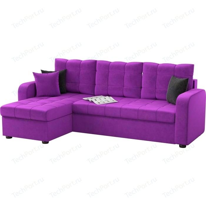 Фото - Угловой диван АртМебель Ливерпуль микровельвет фиолетовый левый угол угловой диван артмебель белфаст микровельвет фиолетовый левый угол