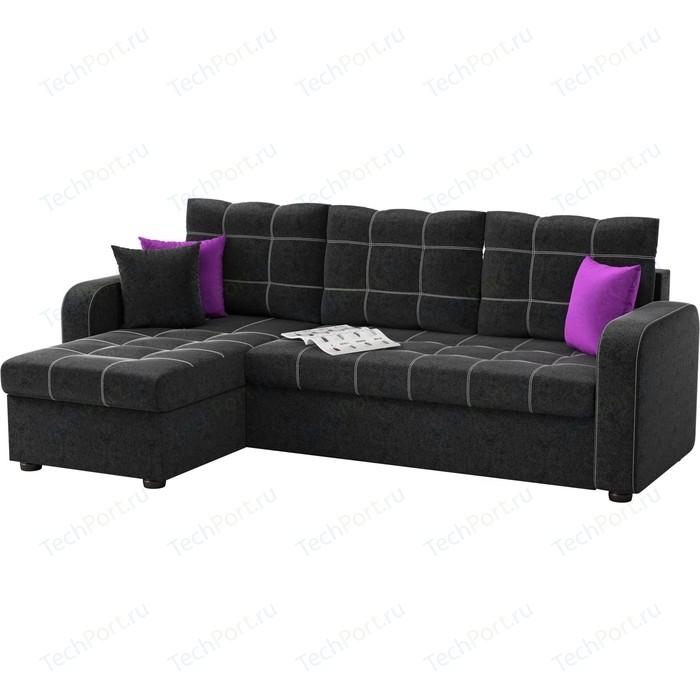 Угловой диван АртМебель Ливерпуль микровельвет черный левый угол