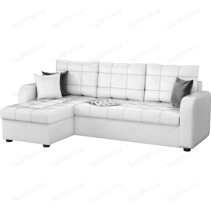 Угловой диван АртМебель Ливерпуль эко-кожа белый левый угол