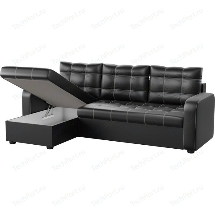 Угловой диван АртМебель Ливерпуль эко-кожа черный левый угол угловой диван артмебель ливерпуль эко кожа коричневый правый угол