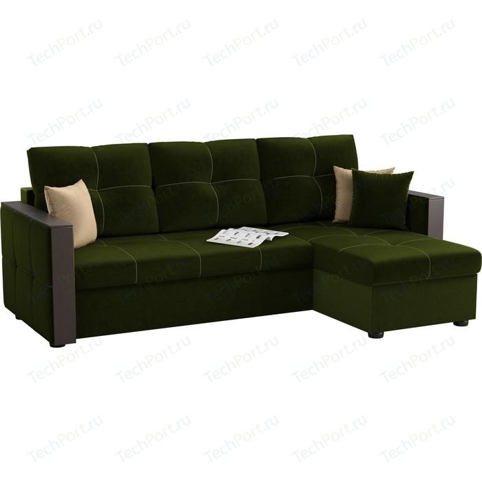 Угловой диван Мебелико Валенсия микровельвет зеленый правый угол