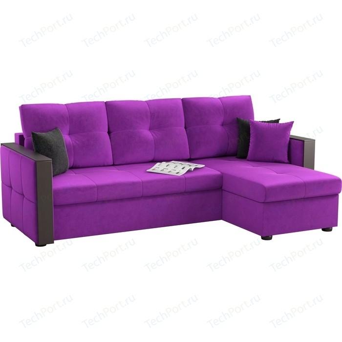 Угловой диван АртМебель Валенсия микровельвет фиолетовый правый угол