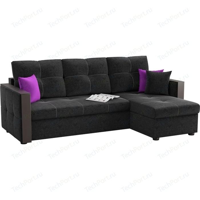 Угловой диван АртМебель Валенсия микровельвет черный правый угол