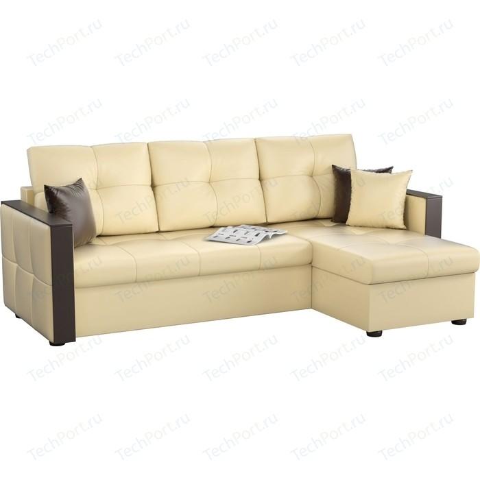 Угловой диван Мебелико Валенсия эко-кожа бежевый правый угол