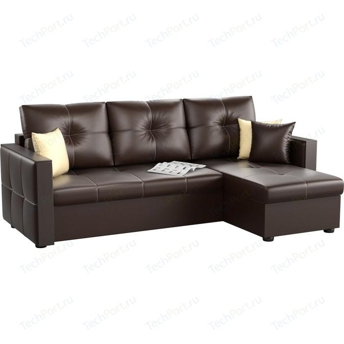 Угловой диван Мебелико Валенсия эко-кожа коричневый правый угол