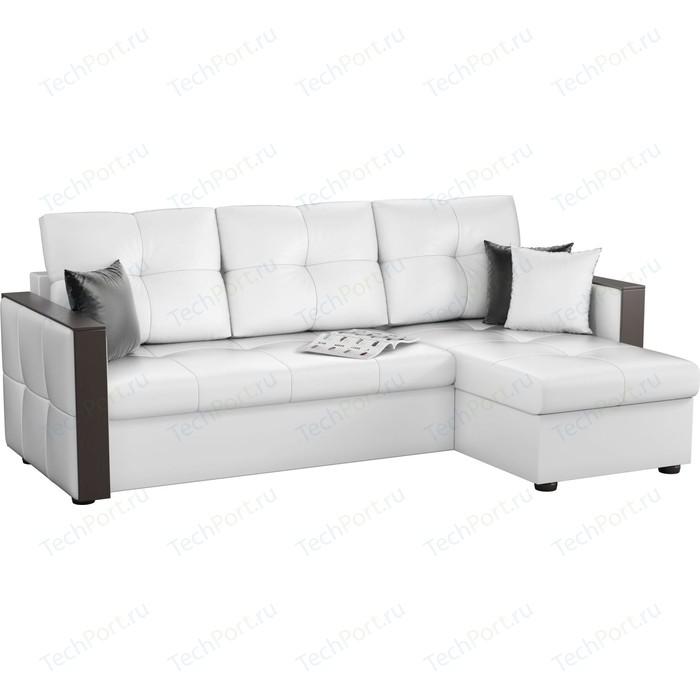 Угловой диван АртМебель Валенсия эко-кожа белый правый угол