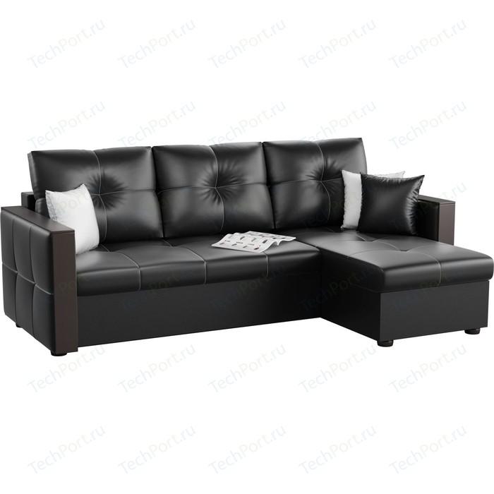 Угловой диван АртМебель Валенсия эко-кожа черный правый угол