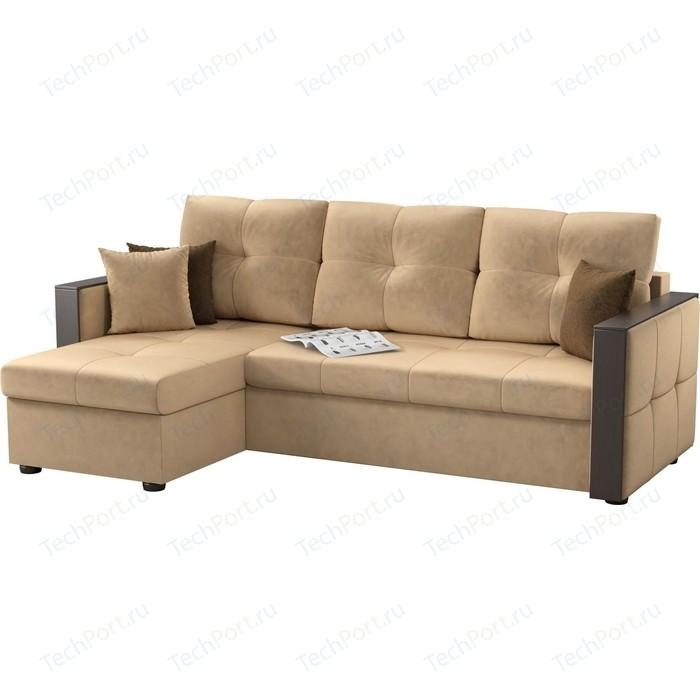 Угловой диван Мебелико Валенсия микровельвет бежевый левый угол диван угловой мебелико гранд микровельвет бежевый левый