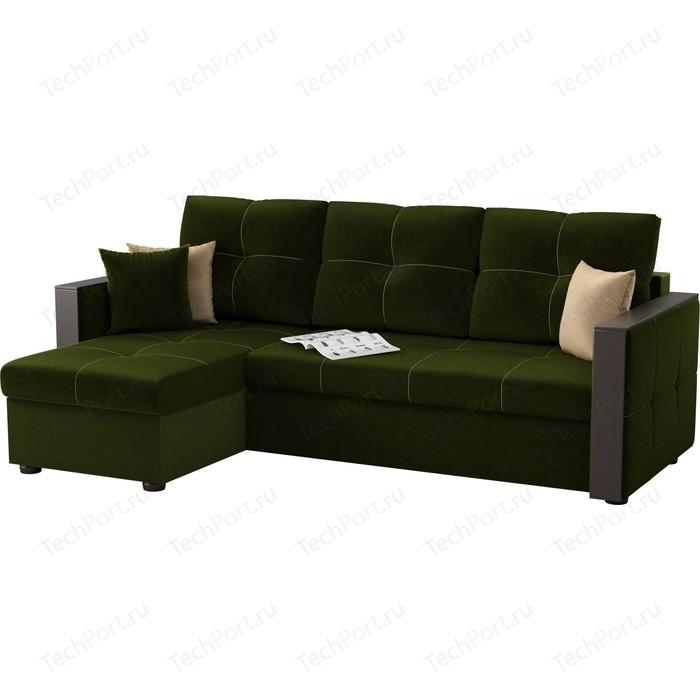 Угловой диван АртМебель Валенсия микровельвет зеленый левый угол