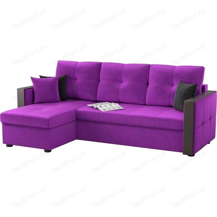 Угловой диван Мебелико Валенсия микровельвет фиолетовый левый угол