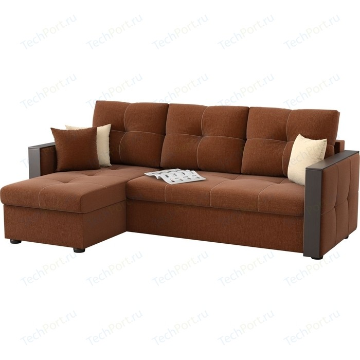 Угловой диван Мебелико Валенсия рогожка коричневый левый угол