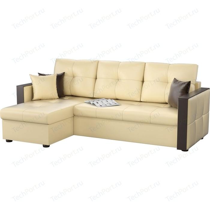 цена Угловой диван Мебелико Валенсия эко-кожа бежевый левый угол онлайн в 2017 году