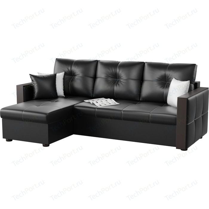 Угловой диван АртМебель Валенсия эко-кожа черный левый угол