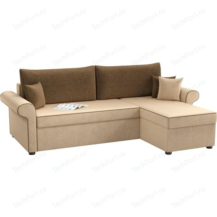Фото - Угловой диван Мебелико Милфорд микровельвет бежево-коричневый правый угол кухонный угловой диван мебелико салвадор микровельвет бежево коричневый правый угол