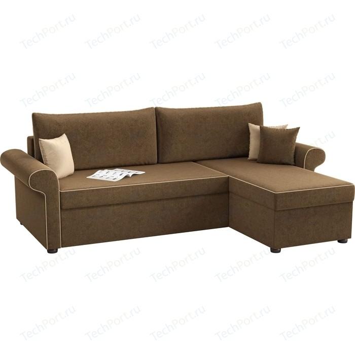 Угловой диван АртМебель Милфорд микровельвет коричневый правый угол диван угловой артмебель даллас микровельвет коричневый правый