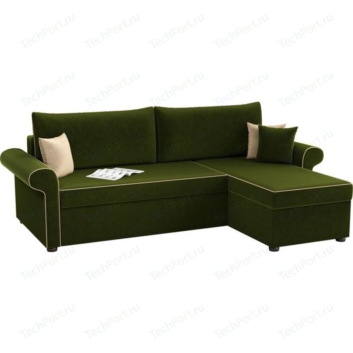 Угловой диван Мебелико Милфорд микровельвет зеленый правый угол