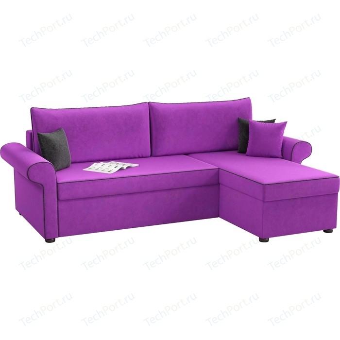 Угловой диван Мебелико Милфорд микровельвет фиолетовый правый угол