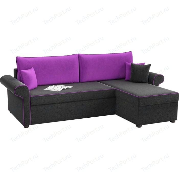 Фото - Угловой диван АртМебель Милфорд микровельвет черно-фиолетовый правый угол детский диван артмебель орнелла микровельвет черно фиолетовый правый угол