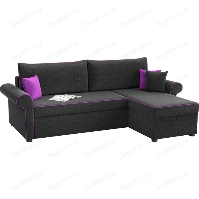 Угловой диван Мебелико Милфорд микровельвет черный правый угол