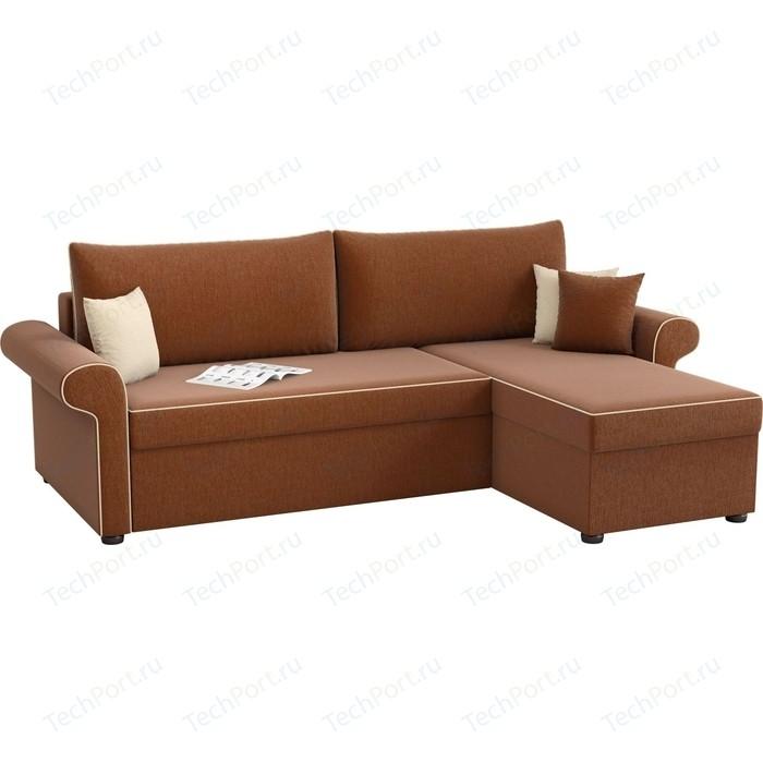 Угловой диван АртМебель Милфорд рогожка коричневый правый угол