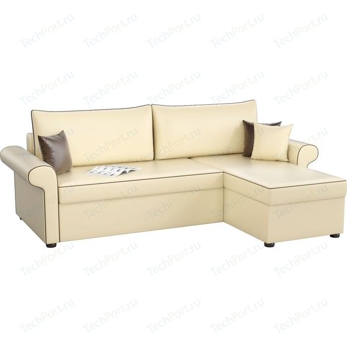 Угловой диван Мебелико Милфорд эко-кожа бежевый правый угол