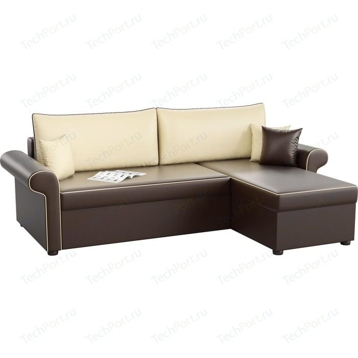 Угловой диван АртМебель Милфорд эко-кожа коричнево-бежевый правый угол