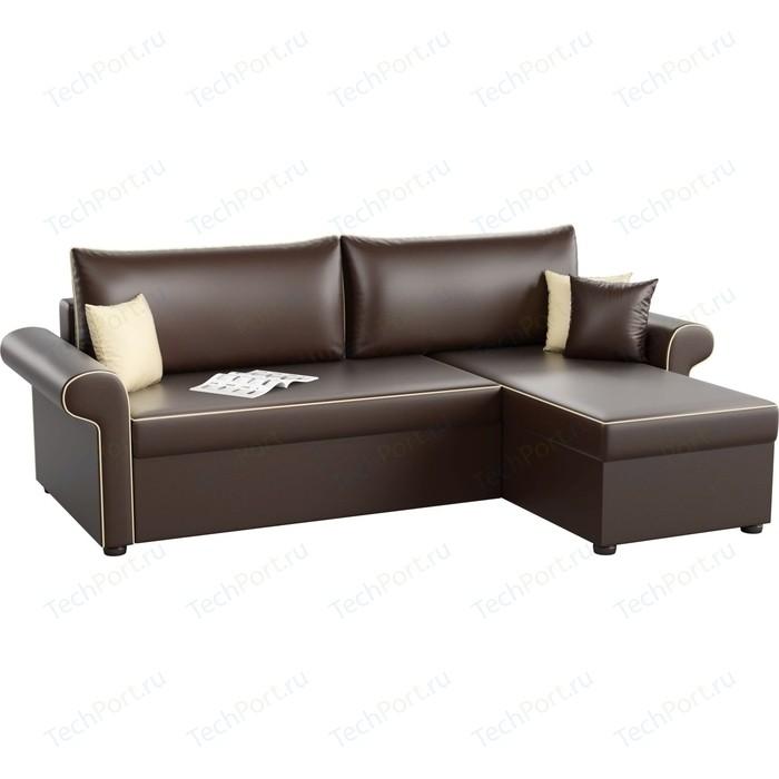Угловой диван Мебелико Милфорд эко-кожа коричневый правый угол