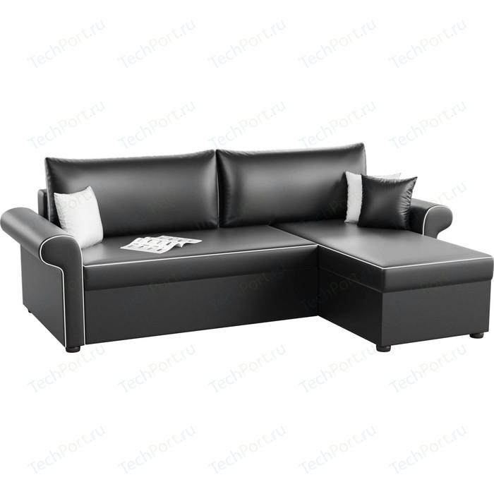 Угловой диван АртМебель Милфорд эко-кожа черный правый угол угловой диван артмебель дубай эко кожа черный правый угол