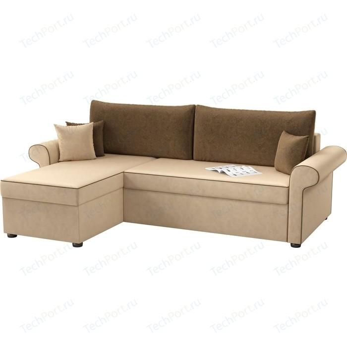 Угловой диван Мебелико Милфорд микровельвет бежево-коричневый левый угол