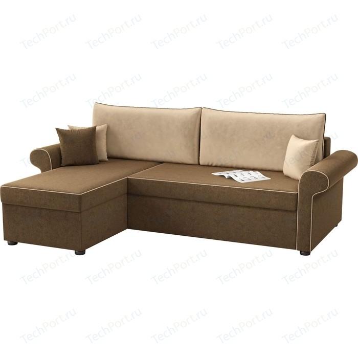 Угловой диван Мебелико Милфорд микровельвет коричнево-бежевый левый угол