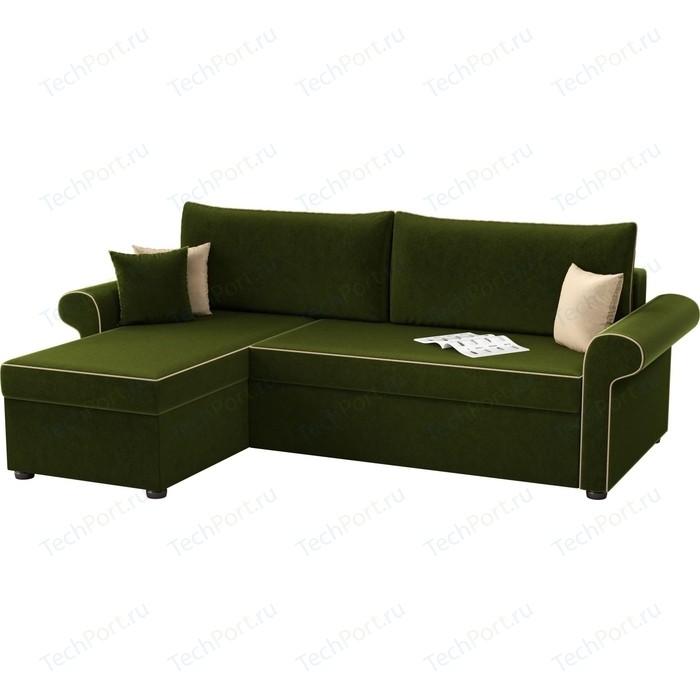 Угловой диван АртМебель Милфорд микровельвет зеленый левый угол угловой диван милфорд левый mebelvia зеленый микровельвет лдсп
