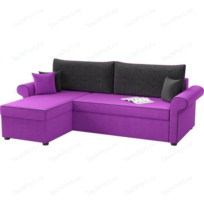 Угловой диван Мебелико Милфорд микровельвет фиолетово-черный левый угол детский диван мебелико дюна микровельвет фиолетово черный левый угол