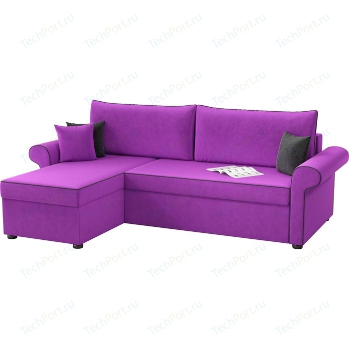 Фото - Угловой диван АртМебель Милфорд микровельвет фиолетовый левый угол угловой диван артмебель белфаст микровельвет фиолетовый левый угол