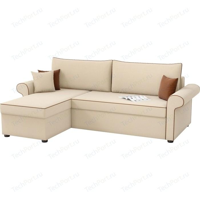 Угловой диван Мебелико Милфорд рогожка бежевый левый угол