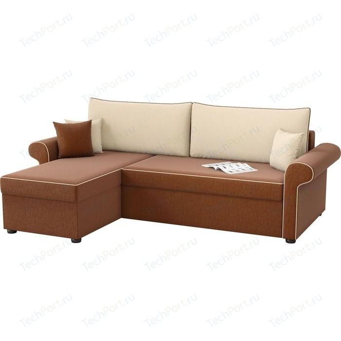 Угловой диван Мебелико Милфорд рогожка коричнево-бежевый левый угол