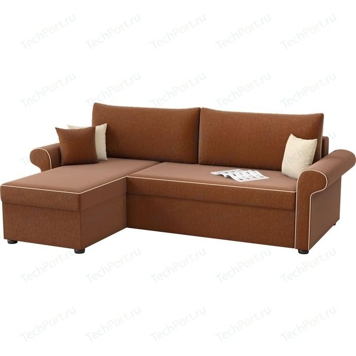 Угловой диван Мебелико Милфорд рогожка коричневый левый угол