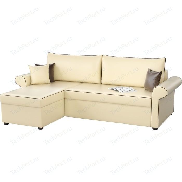 цена Угловой диван Мебелико Милфорд эко-кожа бежевый левый угол онлайн в 2017 году