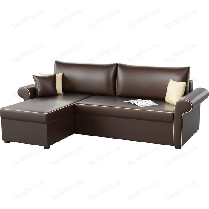 Угловой диван Мебелико Милфорд эко-кожа коричневый левый угол