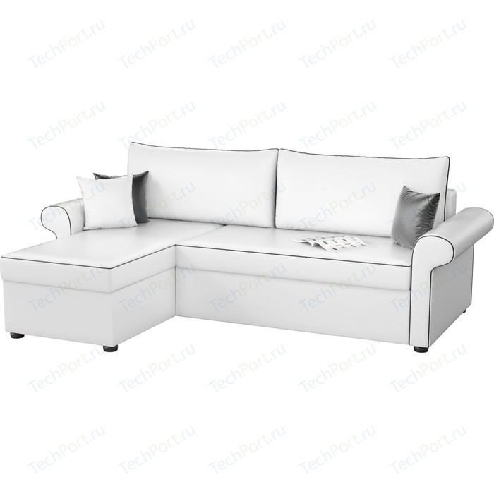 Угловой диван Мебелико Милфорд эко-кожа белый левый угол