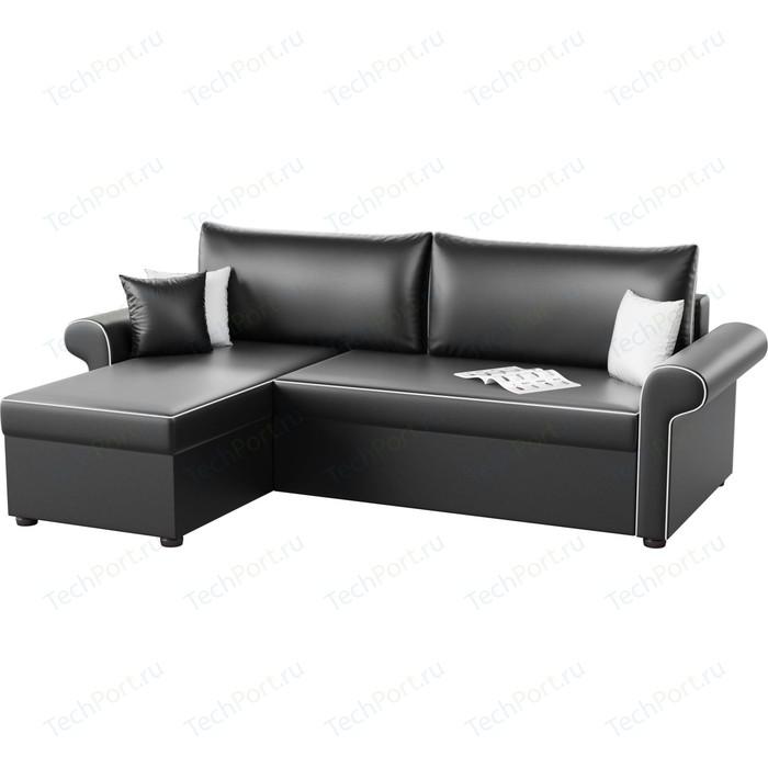 Угловой диван АртМебель Милфорд эко-кожа черный левый угол