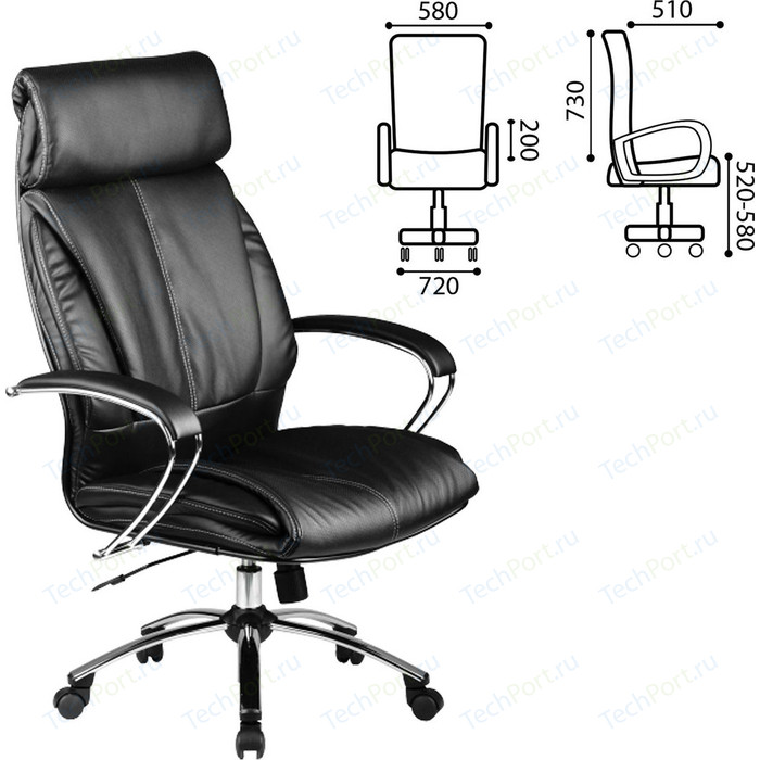 Кресло офисное Метта LK-13CH кожа хром черное ш/к 86748