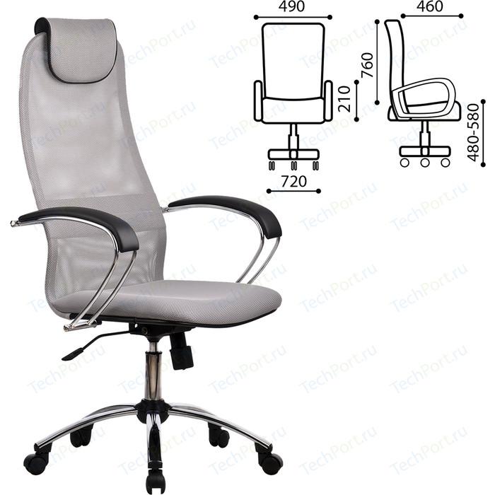 Кресло офисное Метта BK-8CH ткань-сетка хром светло-серое ш/к 80463