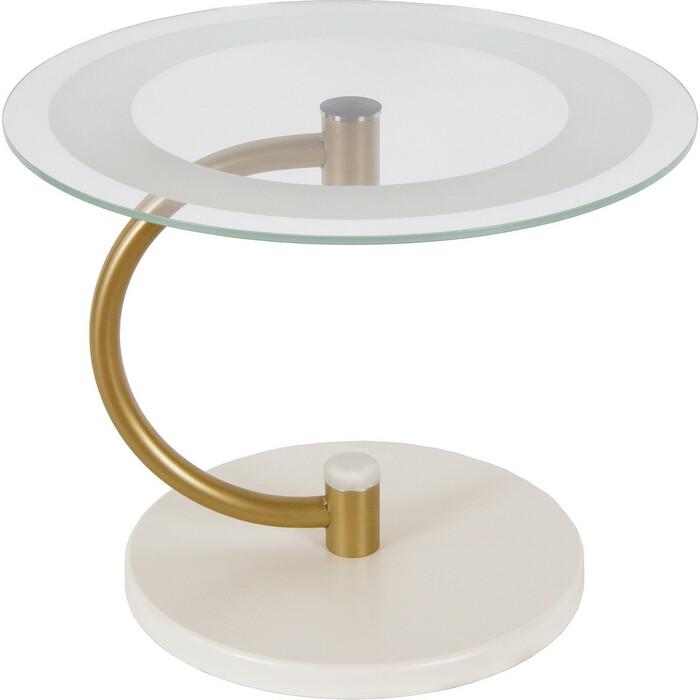 Фото - Стол журнальный Мебелик Дуэт 13Н золото/слоновая кость/прозрачное стол журнальный дуэт 6 металлик прозрачное