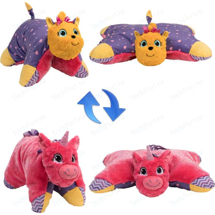 Мягкая игрушка 1Toy Подушка Вывернушка 2в1,Лавандовый Единорог-Щенок Йорк (Т12045)